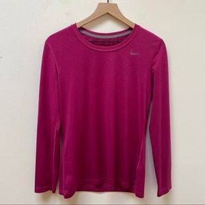 Nike Magenta Dri-Fit Activewear Long Sleeve Top